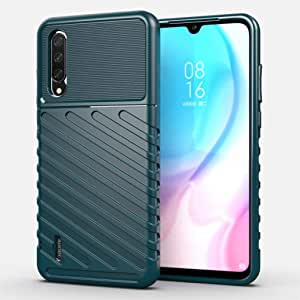 Shockproof Bumper Carbon Fiber Soft TPU Case For Xiaomi Mi A3 - Green