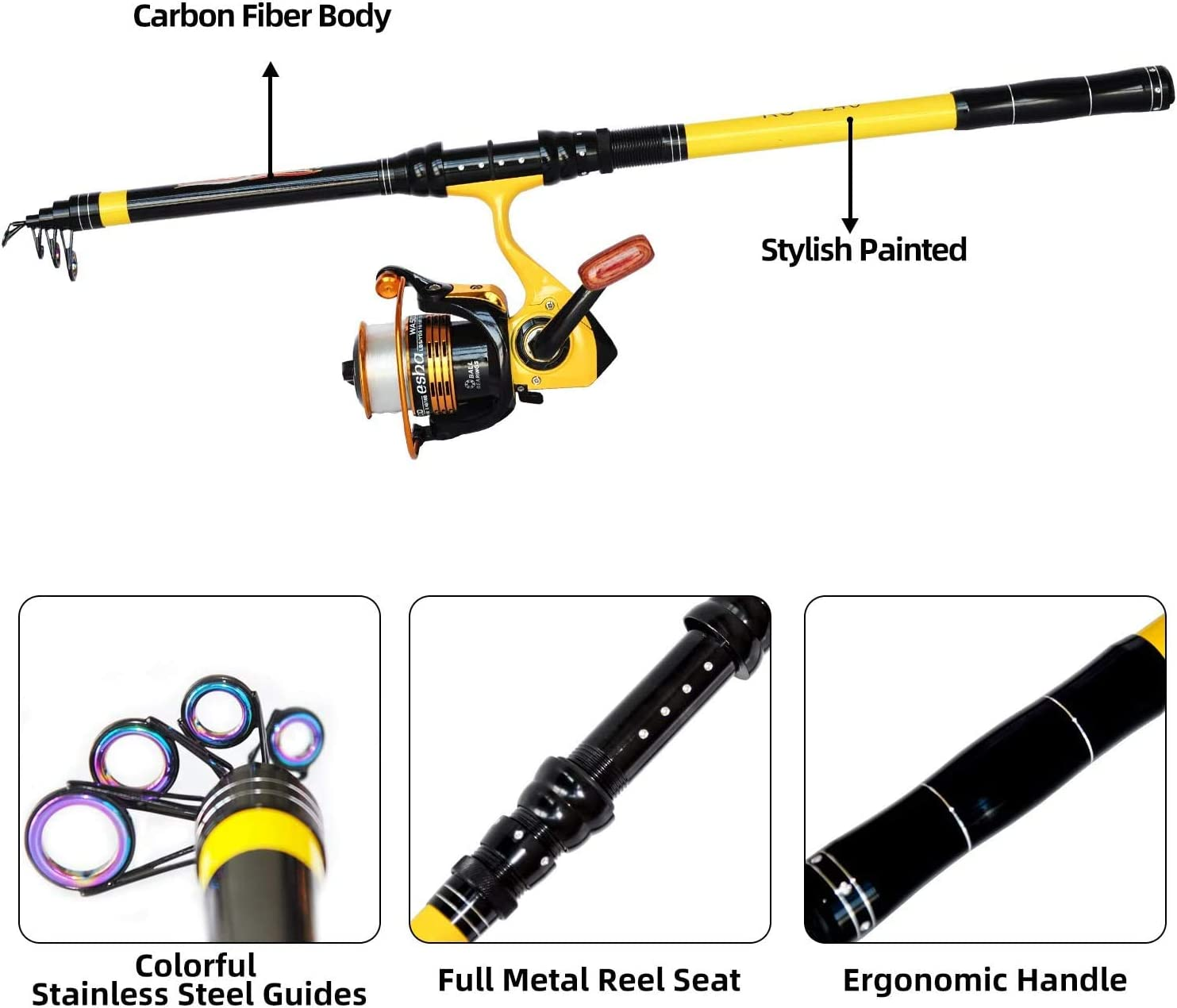 Richcat Fishing Rod and Reel Combo,Medium Heavy Poles and Reels Telescopic Rod Kits for Adults, 22lb Line Pre-spooled with Spining Reel for Saltwater Freshwater Catfish Bass Fishing