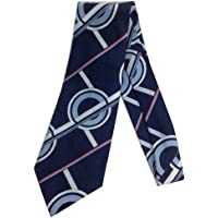 Anthony's Importers Men's Blue Circle Geometric Necktie - Vintage Jacquard Weave Wide Kipper Navy