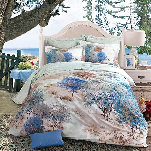 Modern 4 Piece Oil Painting Style Autumn Withered Tree Duvet Cover Set Cotton Printed Allergy Freee Bedding Sets/Collections Flat Sheet Sets with Pillow Cases,Multi-color,Full/Queen(86'x94')