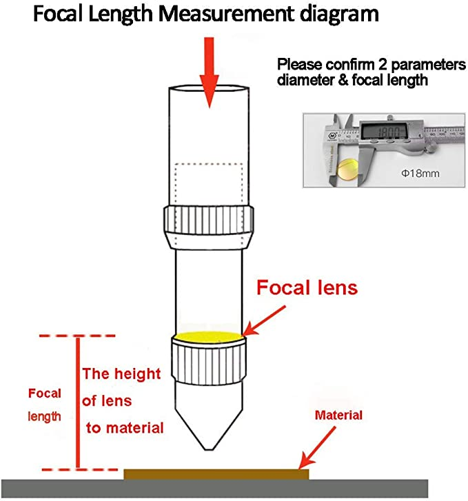 1 12 mm 25.4 mm MCWlaser Lente de enfoque ZnSe de 12 mm para grabado l/áser CO2 Grabado de corte//MCWlaser Di/ámetro de corte