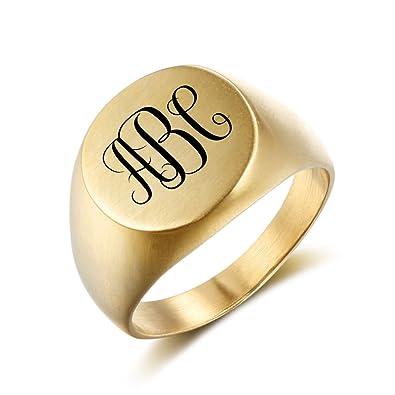 JewelOra oro anillos de boda de acero inoxidable hombres redondo personalizado grabado promesa anillo de nombres Cool Ideas de regalo para los hombres: ...