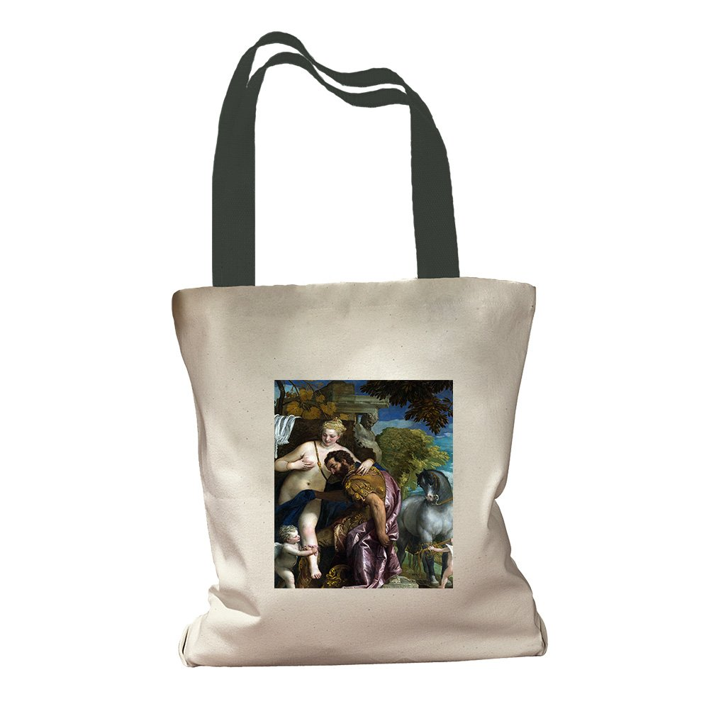 Mars And Venus United By Love (Veronese) Canvas Colored Handles Tote - Green by Style in Print (Image #1)