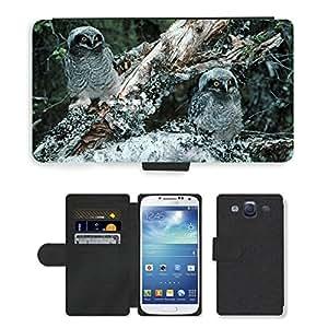 Super Stella Cell Phone Card Slot PU Leather Wallet Case // M00107085 Northern Hawk Owl Owls Bird Chicks // Samsung Galaxy S3 S III SIII i9300