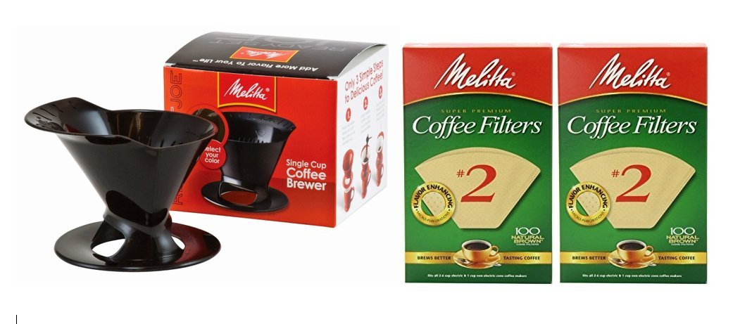 Melitta Pour Over Coffee Cone Brewer & Set of 2#2 Filter Natural Brown Combo Set, Black