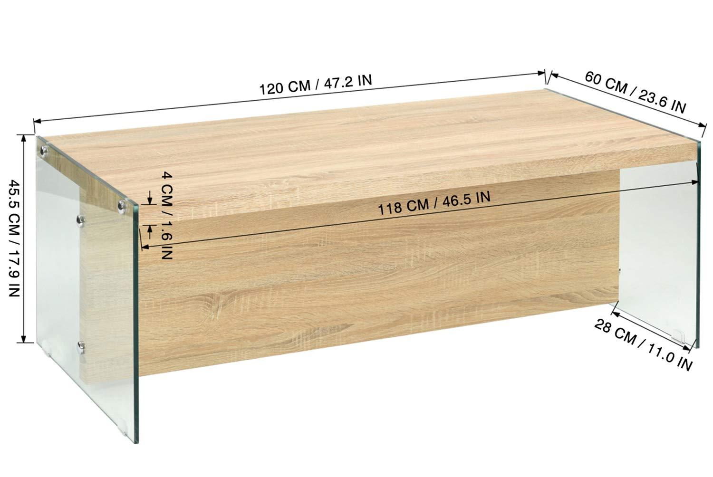 120 X 60 X 45,5 CM GreenForest Tavolino Moderno Tavolo da Salotto Chiaro Tavolo da Pranzo Rettangolare per Soggiorno Domestico in Vetro temperato e Legno
