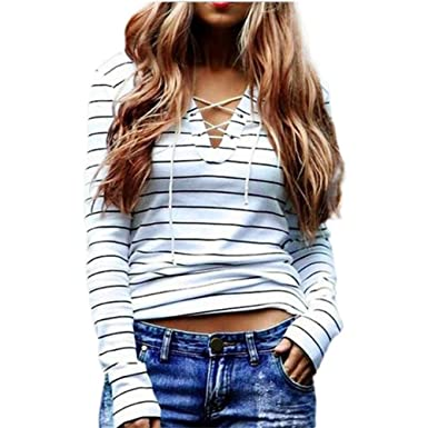 MITIY Women Stripe Long Sleeve Casual Tops T-Shirt Blouse