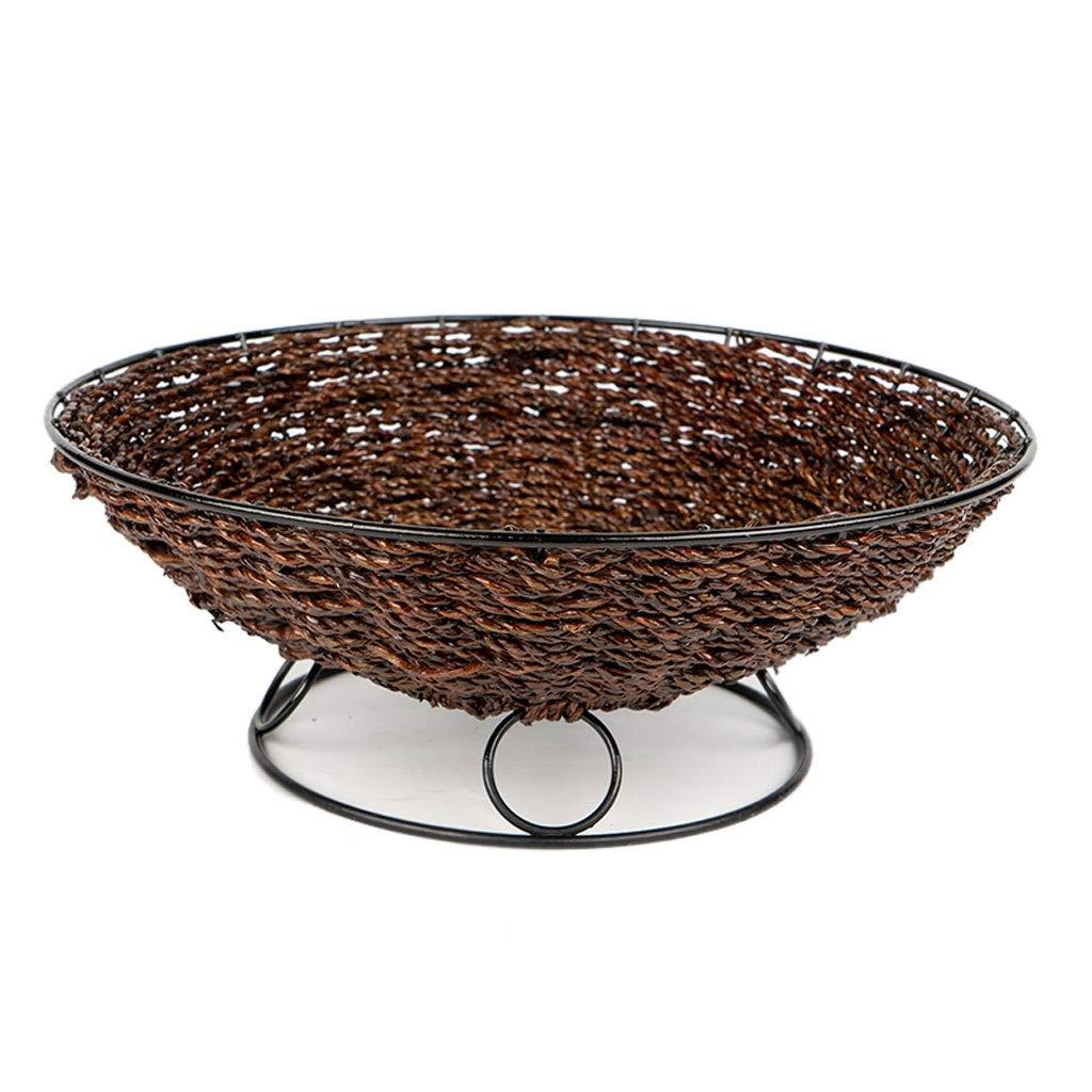 クリエイティブ中空織り金属フルーツトレイフルーツバスケットプレートフルーツディッシュフルーツラックキッチンリビングルームの装飾 (色 : ダークブラウン)  ダークブラウン B07NQ196G2