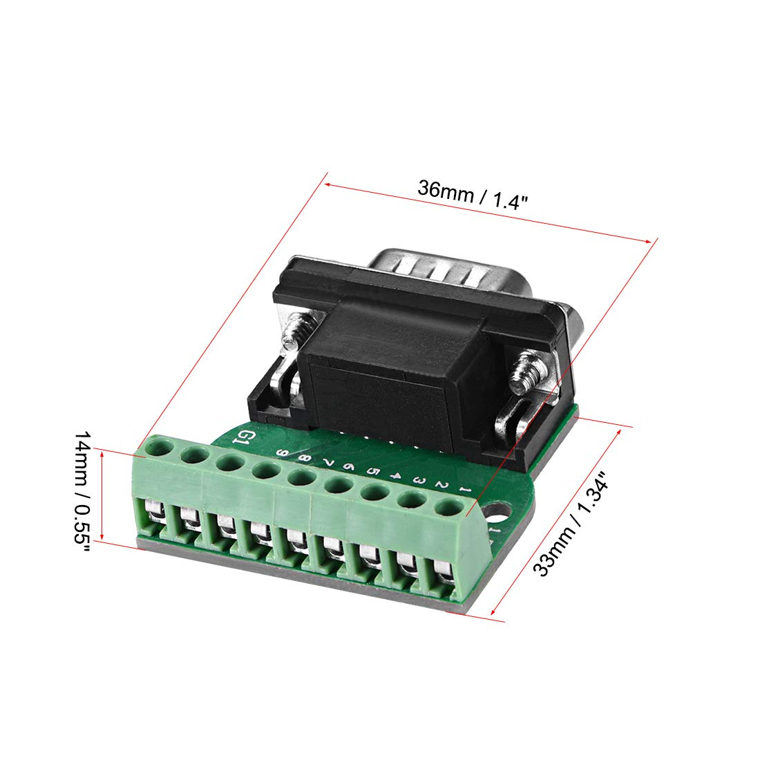 Sourcingmap D-sub DB9 Breakout Board Connettore 9 Pin 2 Row Femmina RS232 Porta seriale Solderless Terminal Block Adattatore con dadi di posizionamento