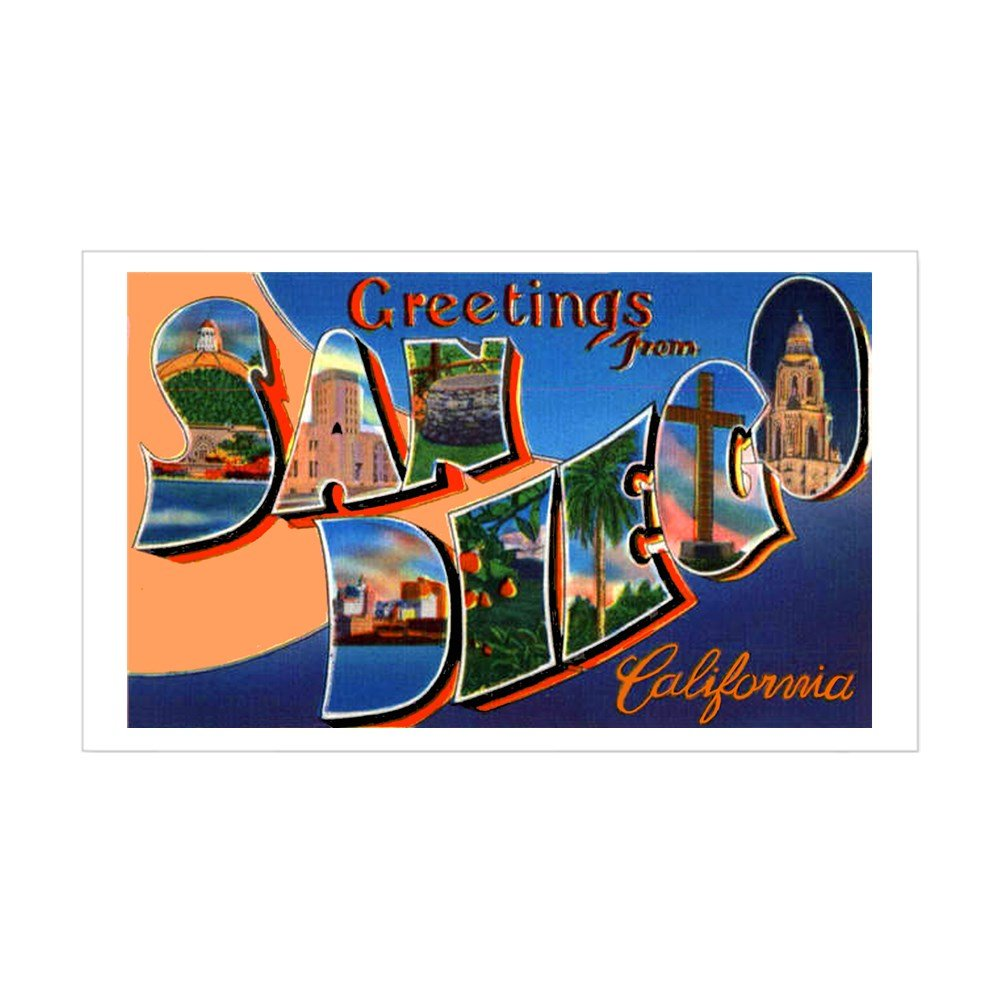 CafePress - San Diego California Greetings Sticker (Rectangula - Rectangle Bumper Sticker Car Decal