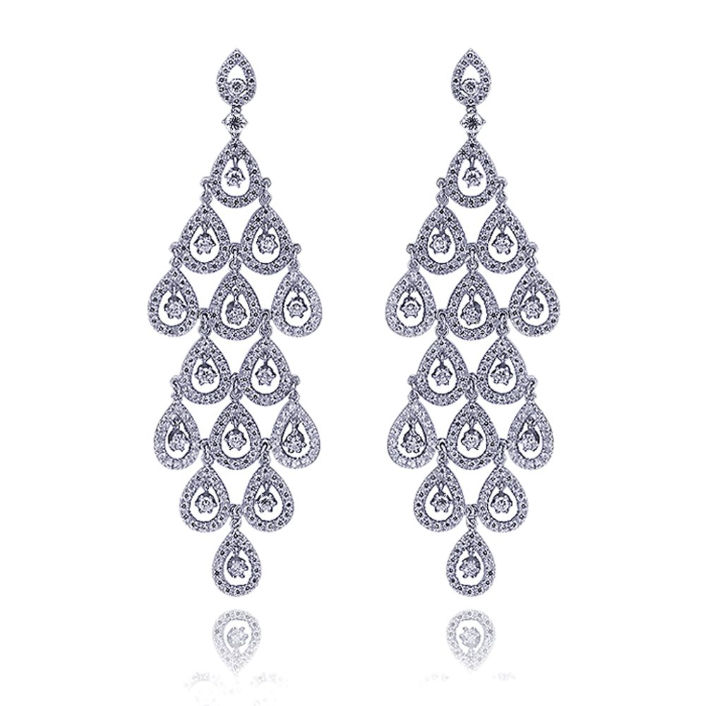 Rhodium Plated Sterling Silver Round CZ Setting Dangling Glistening Rain drop Design Drop Earrings