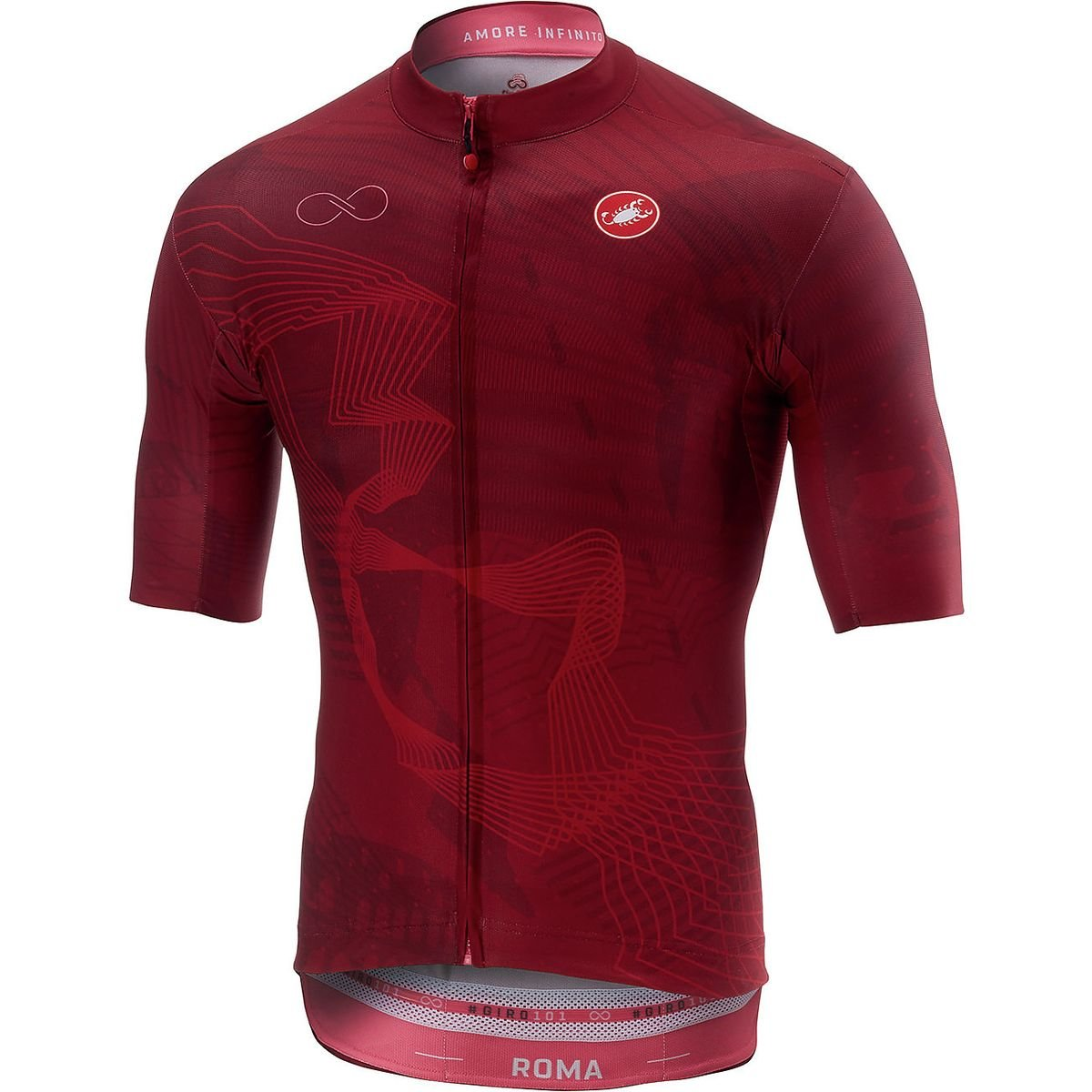 Castelli RomaフルジップJersey – Men 's B07CVN8Q7G  Rosso Porpora X-Large