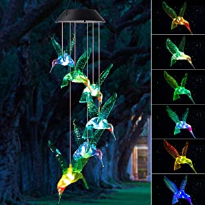 zhengshizuo Wind Chimes Outdoor, Gifts for mom, Solar Wind Chimes,Hummingbird Wind Chimes,Glowing Wind Chimes,Outdoor Decor, mom Gifts,Gardening Gifts,Grandma Gifts, Plastic Hangers Wind Chimes Solar