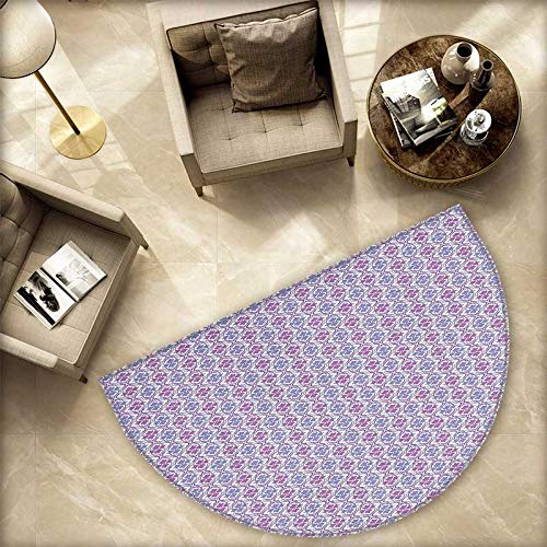 Floral Semicircular Cushion Ethnic Damask Inspired Motifs Tile Pattern with Arabic Turkish Cultural Origins Entry Door Mat H 74.8