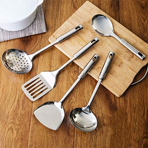 Tools Ladle - Cooking Tool Sets - 5pcs Stainless Steel Turner Cooking Set Hygienic Utensils Spatula Spoon - Cooking Sets Tool Cooking Tool Sets Cook Medicine Spoon Kitchen Spatula Steel Ladle Stainless Fl
