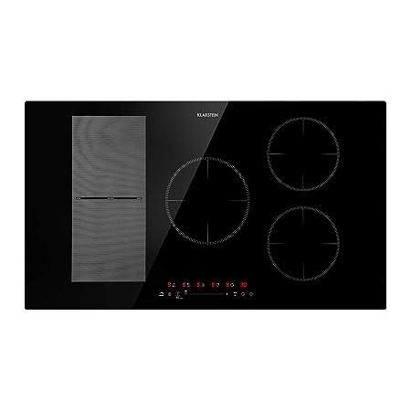 Klarstein Delicatessa 90 Hybrid Placa de cocina - Placa de inducción, Para empotrar, 5 zonas, 7000 W, Panel táctil, Flexzone, Sensor de sartenes, ...