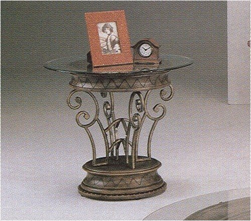 Neo-Roman Wrought Iron Round Glass Top Table with an Antique Pewter Finish (Coaster Pewter Round)