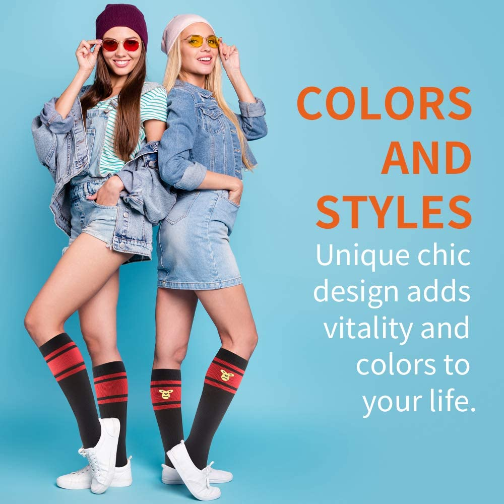 CAMBIVO 2 Pairs Compression Socks for Women and Men and Daily Wear ,Fun Knee High Socks for Travel S//M, Black-red Flight 8-15 mmHg