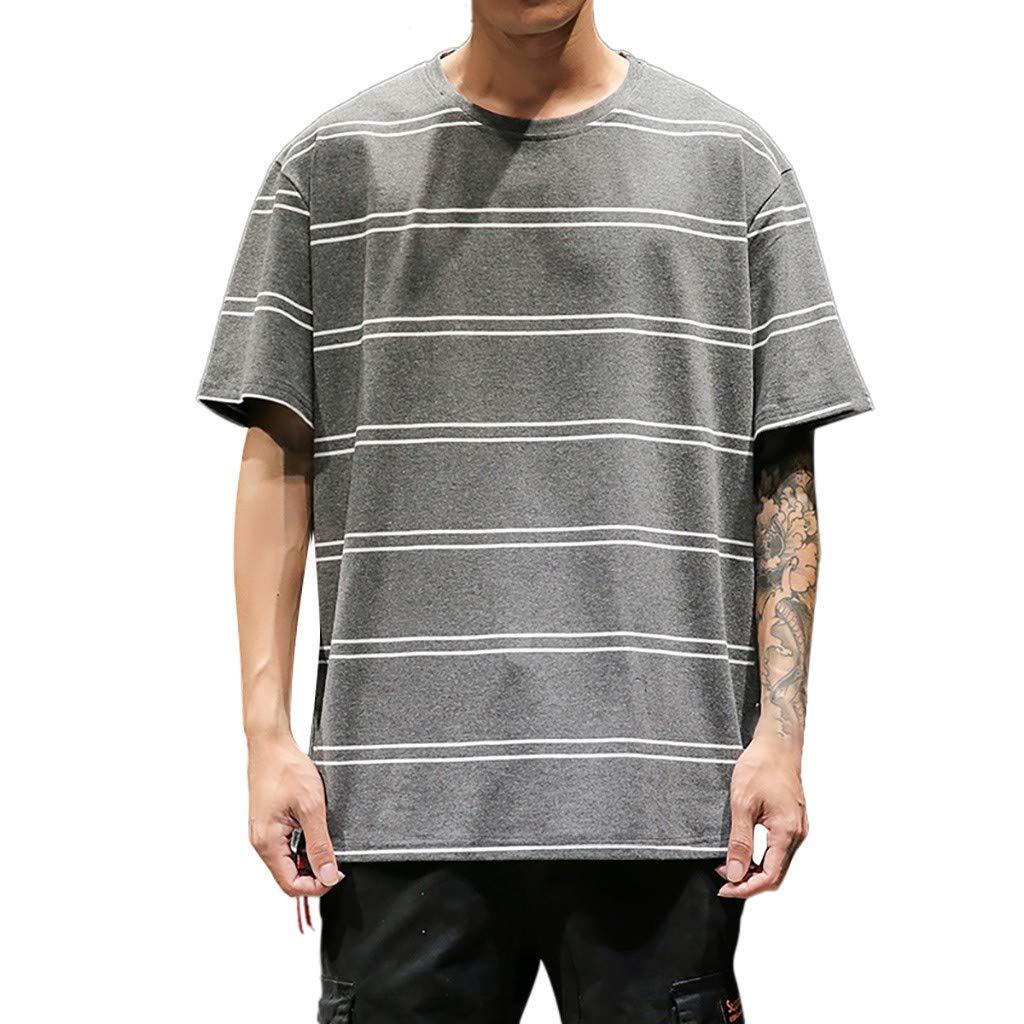 TWGONE Striped Shirt Mens Short Sleeve Summer Crew Neck Loose Comfortable Blouse Top(Large,Dark Gray)