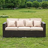 Stamo Rattan Sofa Outdoor Patio Furniture Set Couches Luxury Wicker 3 Seat with 3 Cushions and 4 Pillows Lawn All Weather