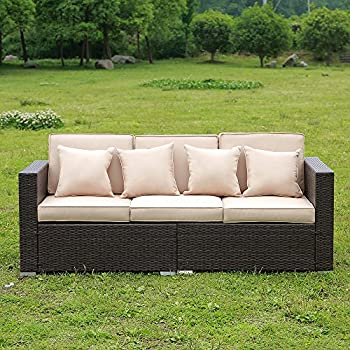 Windaze Outdoor Wicker Patio Furniture Sofa 3 Seater Luxury Comfort Brown  Wicker Couch (Brown)