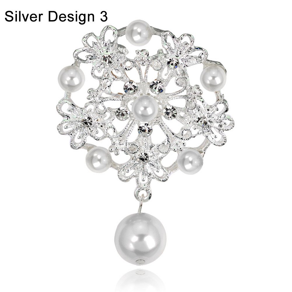 Faux Pearl Drop Hollow Flower Brooch Pin Bridal Wedding Jewelry Silver Design