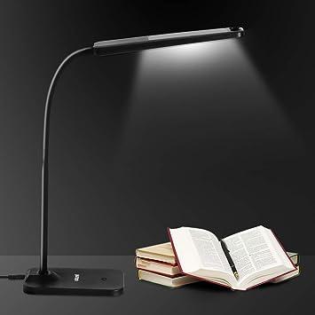 Escritorio LED Regulable, Exwell Lampara Escritorio con USB Puerto de Carga 4 Niveles de dimmer, Control táctil 57 LED Lámpara de Mesa Flexo