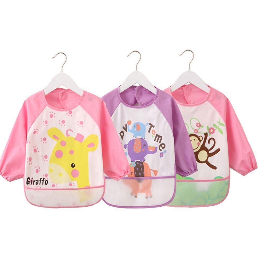 4G Kitty Waterproof Bib with Sleeves& Pocket, Unisex Kids Childs Arts Craft Painting