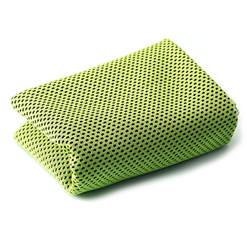 "MJ Fashion Cooling Towel for Instant Relief - 40""12"" - for Sports, Workout, Fitness, Gym, Yoga, Pilates, Travel, Camping & More (Green)"