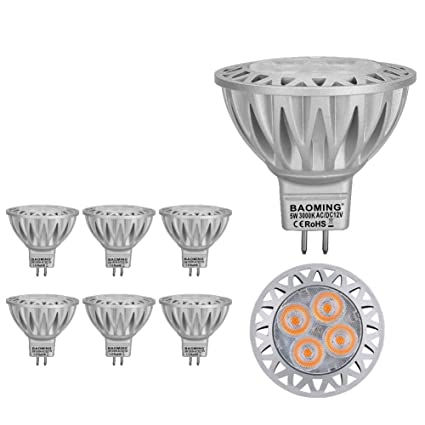 BAOMING MR16 12V Bombilla LED 5 Watt, GU5.3 Socket, Aluminio, 50W