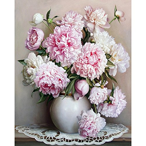 Paint By Numbers Kit DIY Digital Oil Painting Coloring on Canvas By Handmade Products for Art Students, Beginner, Painting Lovers – Pink White Peony Flowers 16x20 Inch with Brushes and Acrylic Pigment (Peonies Number By Paint)