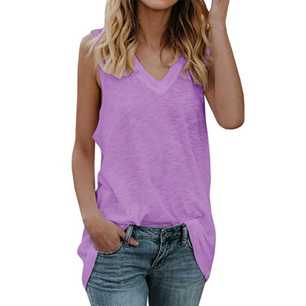 Dunacifa Women Tank Top Womens Fashion Tank Tops V-Neck Sleeveless Casual Summer Loose Fit Vest Tunic Shirts Purple