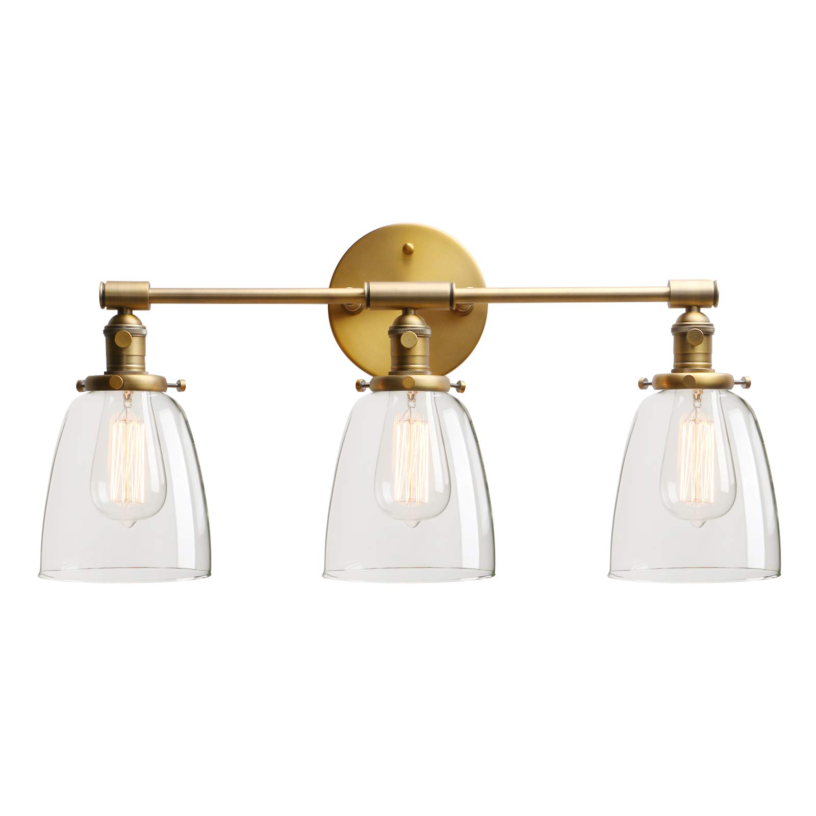 Permo Vintage Industrial Antique Three-Light Wall Sconces with Oval Cone Clear Glass Shade (Antique)