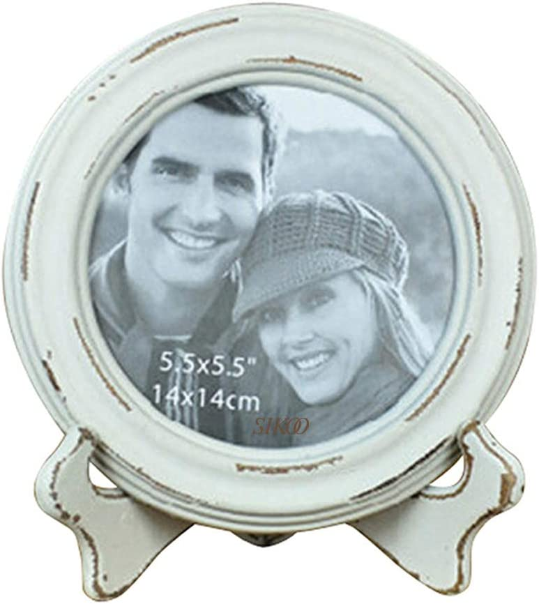SIKOO Round Picture Frame 5.5x5.5 Distressed Rustic Wood Photo Frame Tabletop and Wall Hanging Home Decor, White