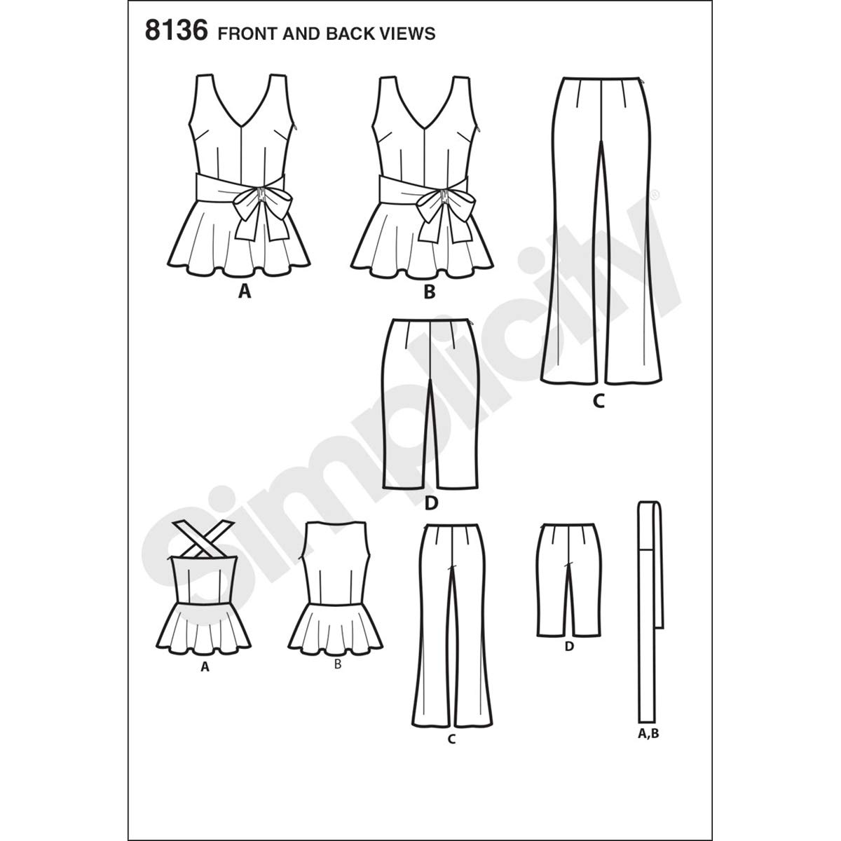 Simplicity Creative Patterns 8136 Mimi G Style Peplum Top with Cropped Pants or Shorts H5 6-8-10-12-14