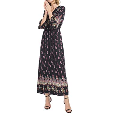 061c2421cd6 Lelili Clearance Women Vintage Long Maxi Dress Boho Printed Flare ...