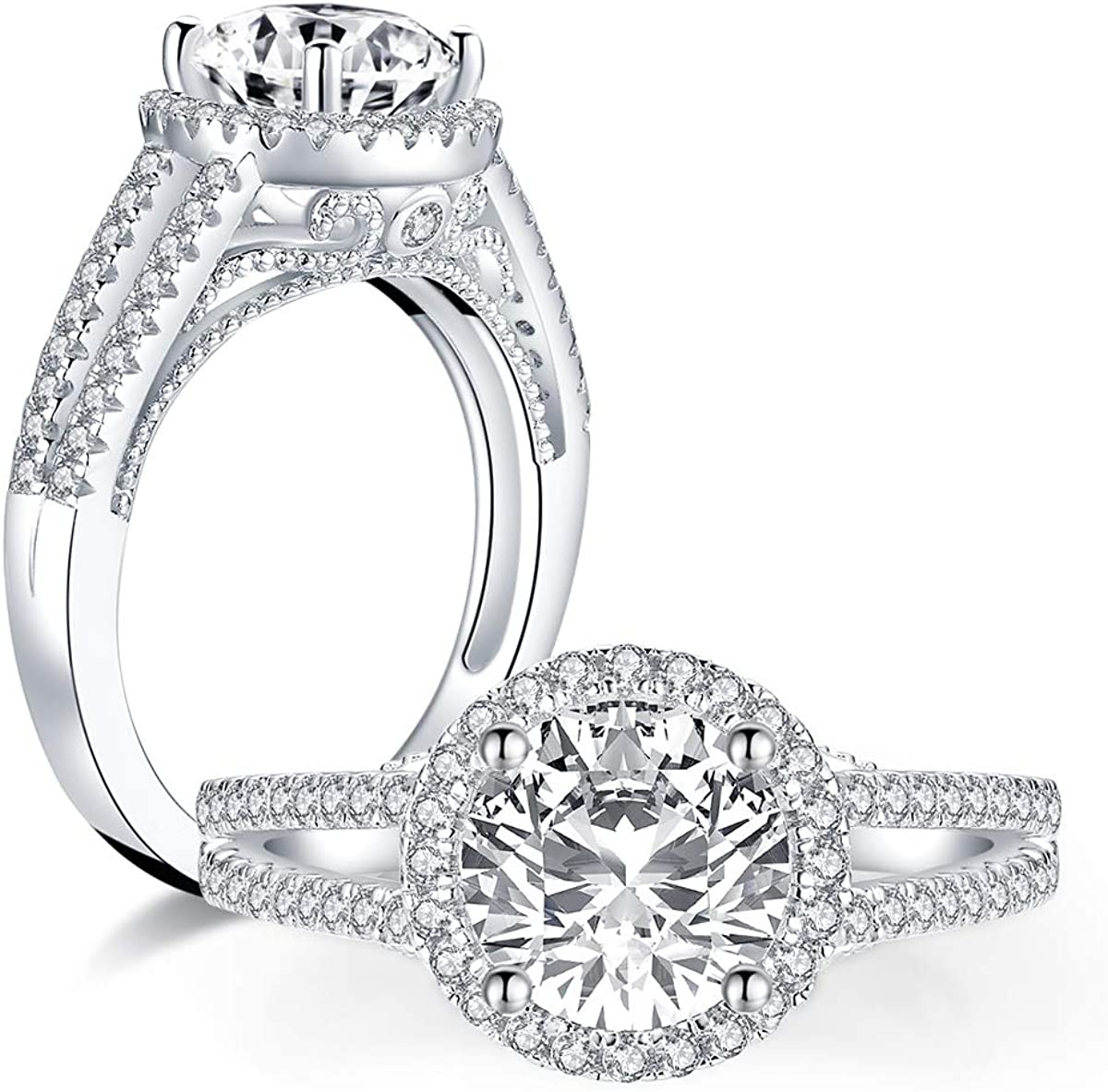 2 Carat Round Halo Bridal half Band 2 Carat CZ Bridal Engagement Ring Halo Made with Cubic Zirconia CZ /& Silver Bridal Set for Her