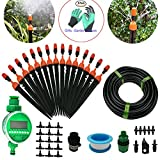 DIY 50FT Micro Drip Irrigation System with Hose Faucet Timer Dripper Sprinkler Plant Irrigation Kit Irrigation Pipe, Irrigation Spray for Flower, Lawn, Patio, Garden Greenhouse Plants Review