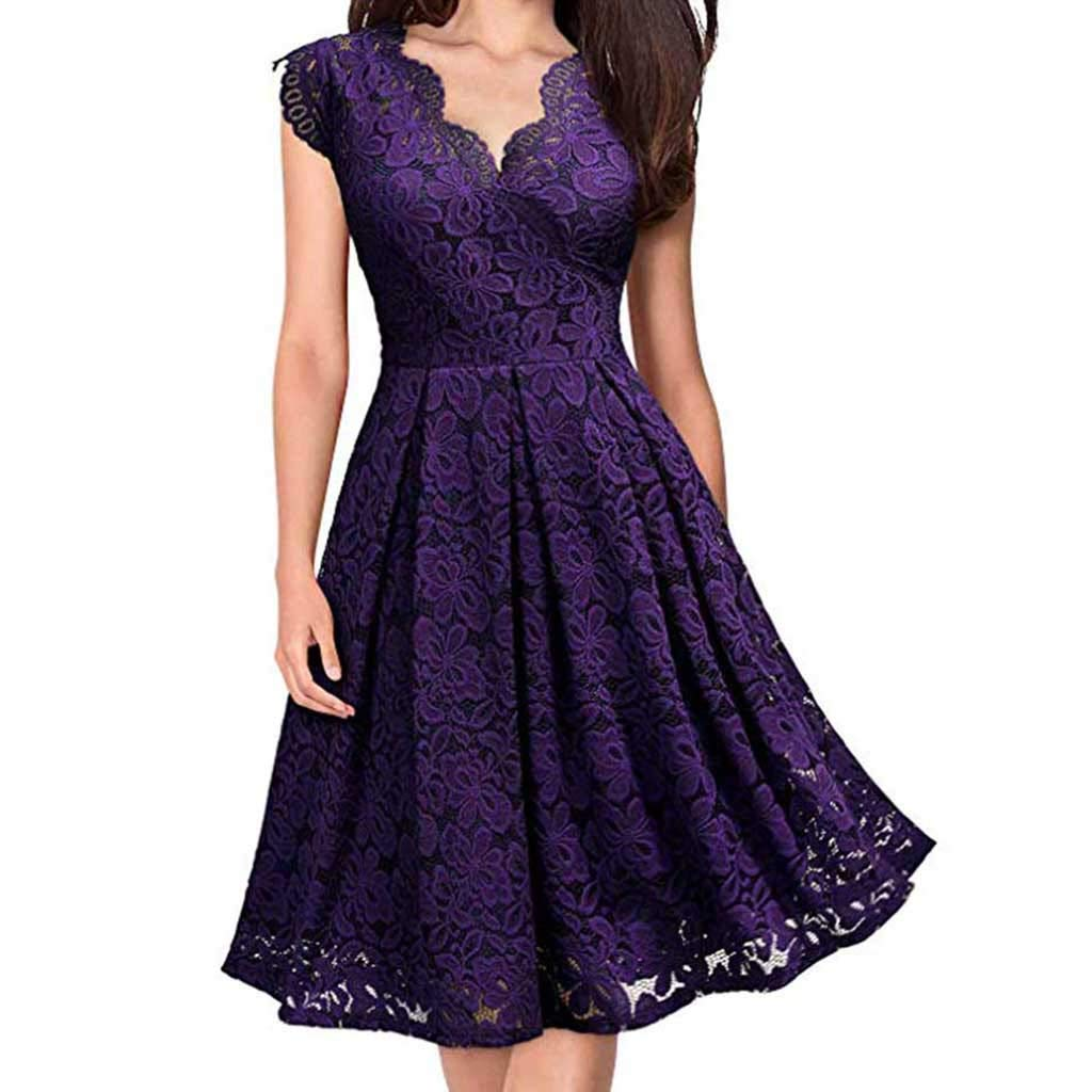 Mysky Fashion Women Sexy Floral Lace Pure Color Ruffle Deep V-Neck Formal Evening Prom Party A-Line Dress