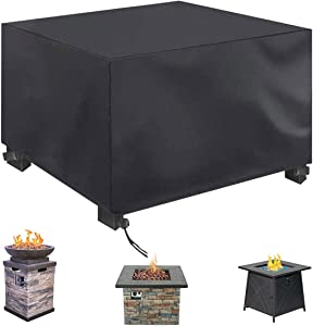 NASUM Fire Pit Cover Square, Furniture Covers Patio 33x33x24 Inch, Gas Fire Pit Cover 420D Heavy Duty Cover Fabric with PU Coating, Rainproof and Windproof All-Season Protection Table Cover-Black