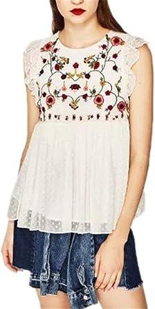 Mujer Camisas Verano Flores Chalecos Vintage Bordado Fashion ...