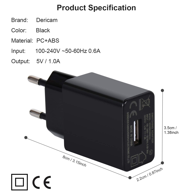 Dericam 5V 1A Cargador de Pared Micro USB, Adaptador de Corriente ...