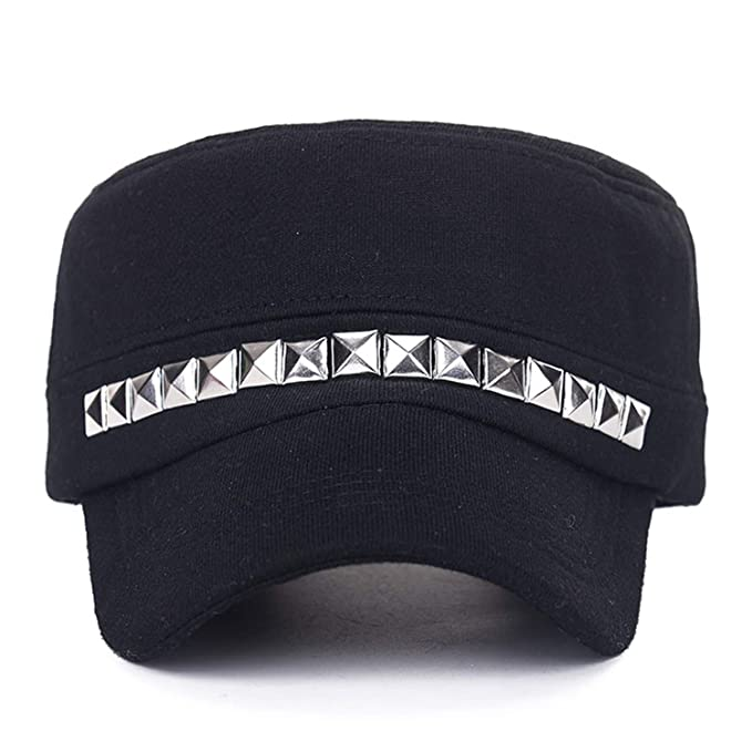 dc07f52b Women Men Rivet Military Beret Hats Punk Style Sailor Caps Flat Captain  Cotton Army Naval Caps
