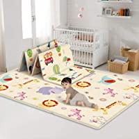 Baby Folding Crawling Mat, Kids Play Mat Soft Foam Rug Carpet, Reversible Double Sides Waterproof Portable Mats Cute…