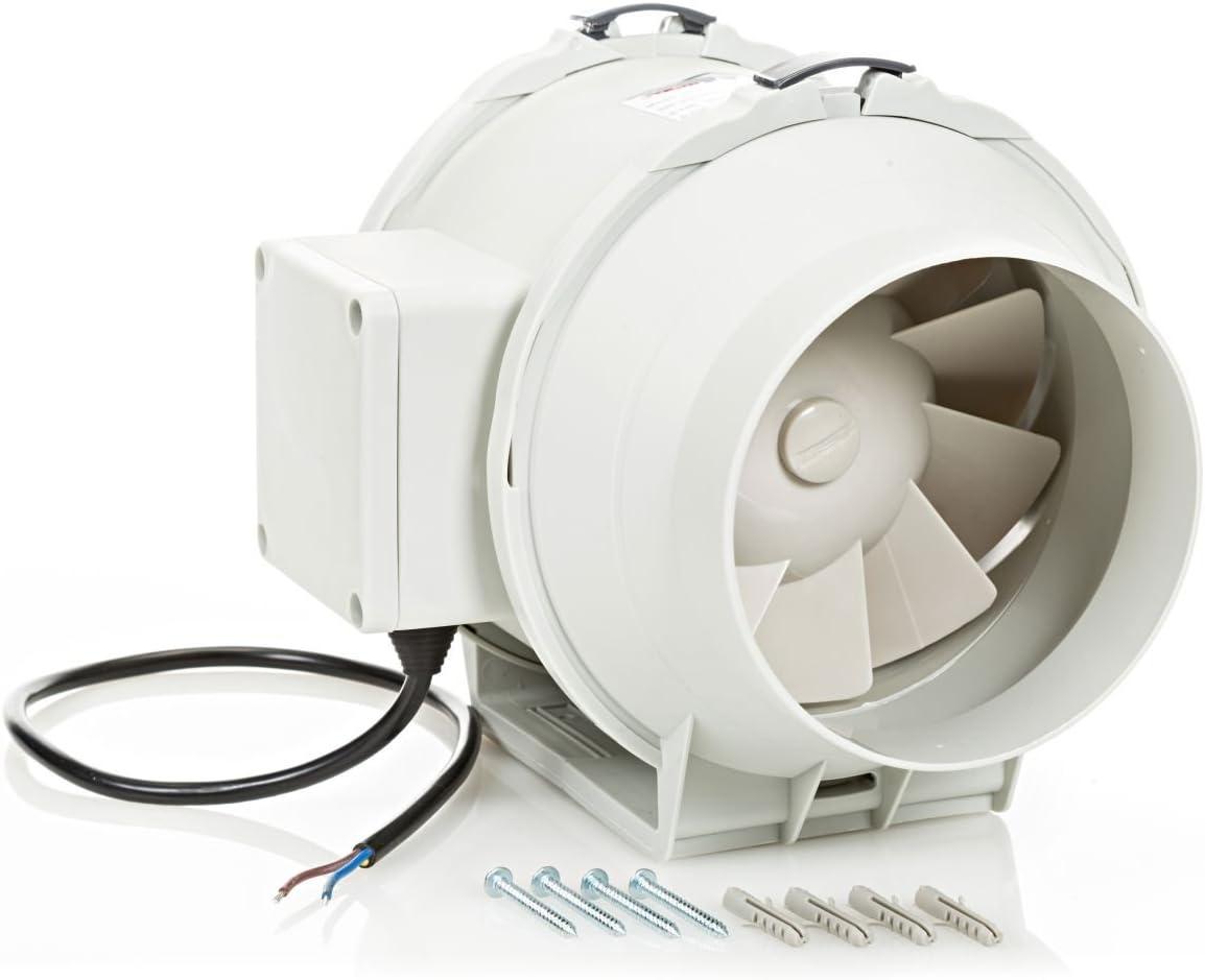 Tubo Ventola Canale Ventola 125mm Aspiratore 5in Ventola di Ventilazione in Linea Motore con Doppio Cuscinetto a Sfere 240V Estrattore Ventilatore Silenzioso per Bagno