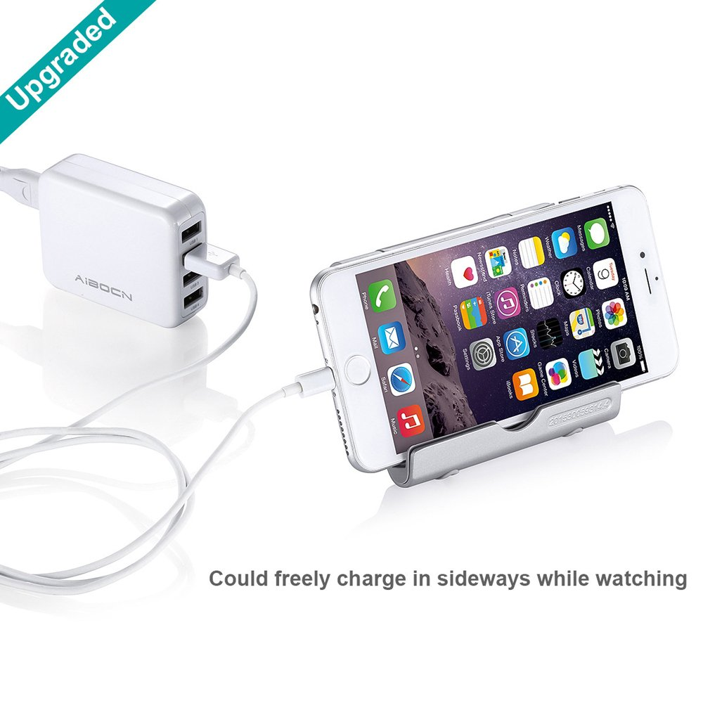 Aibocn Multi-angle Rotary Aluminum Digital Stand for Tablets Smartphones and E-readers Compatible With iPhone, iPad Air, Samsung Galaxy / Tab, HTC, Google Nexus, Honor, LG, BLU and More, Silver
