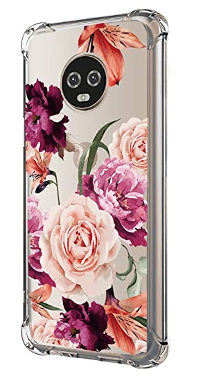 outlet store e8c8b 91928 Moto G6 Case,Moto G6 Case with Flower,LUOLNH Slim Shockproof Clear Floral  Pattern Soft Flexible TPU Back Cover for Motorola Moto G6 (Purple)