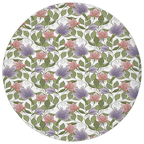 Round Rug Mat Carpet,Floral,Pastel Tone Tulip Flower Aged Ottoman National Symbol Petals Image,Coral Lilac and Olive Green,Flannel Microfiber Non-slip Soft Absorbent,for Kitchen Floor Bathroom