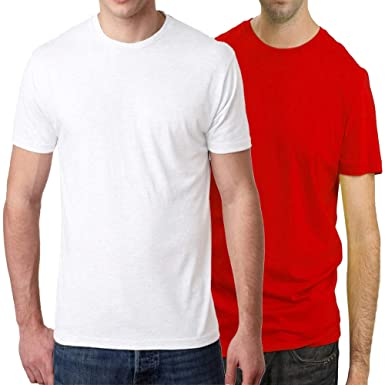 9c30e5f5834d HEYUZE Cotton Male Men's Round Neck Half Sleeve Plain White and Red (Pack  of 2