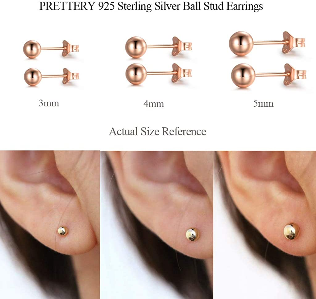 4mm Lot de 3 Paires Clous doreilles pour Femme Fille 5 mm PRETTERY Boucles doreilles Argent Fin 925 Boules Femme 3mm